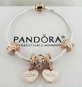 Details about Authentic Pandora Rose Barrel Clasp Bracelet SET