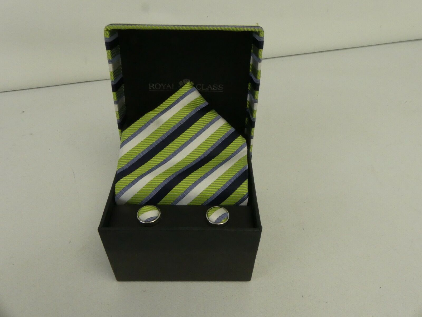 (ref288AS) Royal Class Silk Tie and Cufflinks gift set green blue