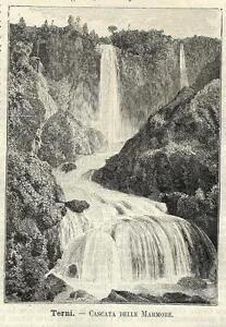Stampa antica CASCATA DELLE MARMORE Terni Umbria 1891 Old antique print