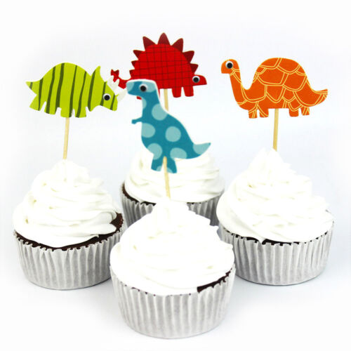 24pcs Dinosaur Toppers Picks CupCake Topper Baby Shower Birthday Party Decor XDU