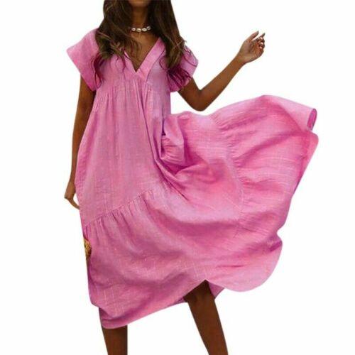 2019 Women Casual PLUS SIZE Linen V-neck Sleeve Cotton Short Loose Maxi Dress