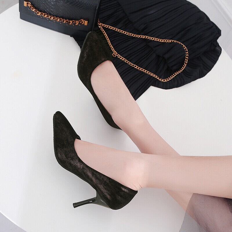 Fashion Ladies Slips On Synthetic Pointy Toe Stiletto Heels Party Pumps Shoes