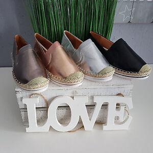 Damen-Ballerinas-Slipper-Espandrillos-Sneaker-Metallic-Farben-Top-amp-Neu