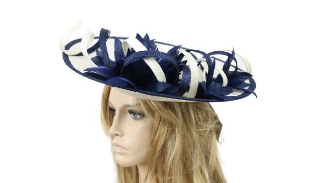John Charles Mother Of The Bride Formal Wedding Hat Fascinator 26688 Navy/Ivory