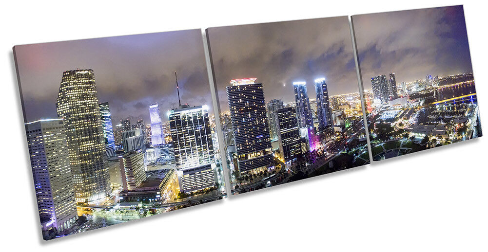 Miami Downtown City Skyline Picture CANVAS WALL ART Triple Print