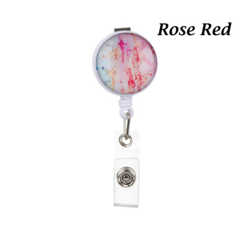 Clip Clip ID Name Card Retractable Starry Marble Pattern Badge Holder Lanyards