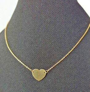 9ct-Yellow-Gold-Flat-Heart-Necklace-0-73g-NEW-Wife-Girlfriend-Mum-BFF-Xmas-Gift