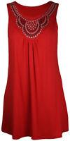 New Womens  Beaded Sleeveless T-Shirt ladies Stud Vest Top Plus Size 12 - 28