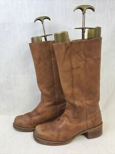 Frye Campus Mens Boots Tan Leather Size 10 US, EU 44.5, UK 9, 28cm Foot Length