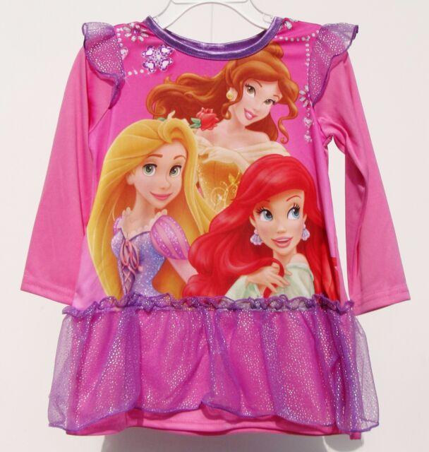 Girls Disney Pink Silky Princess Sleep Gown Nightgown 2t | eBay
