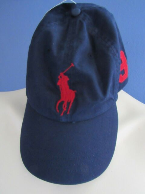 5c9382805 Polo Ralph Lauren Baseball Cap Hat Big Pony Adjustable Strap One Size Navy  Red 3