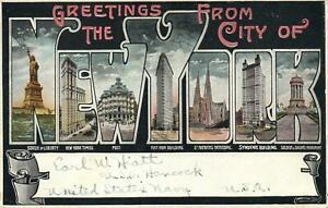1911 GREETINGS from the CITY of NEW YORK POSTCARD - from USS Hancock to Thirroul