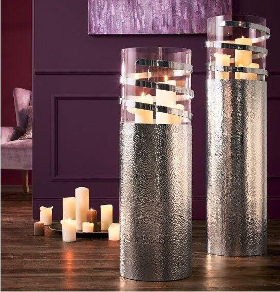 Bodenwindlicht Boden Windlicht Silber Glasaufsatz Design gehämmertes Aluminium
