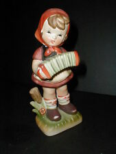 "Dabs Japan #D3016 Porcelain 8"" Girl w Concertina Squeezebox Accordion Figurine"
