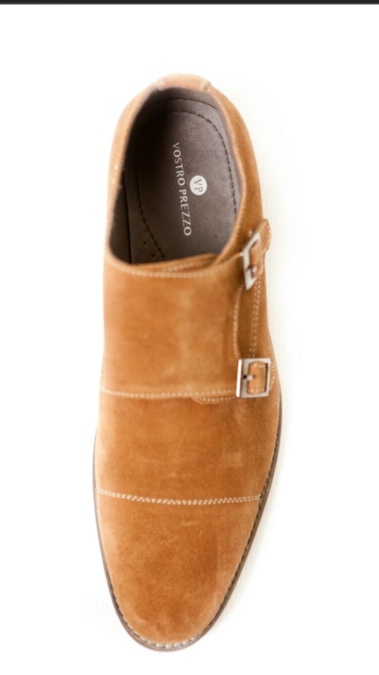Tan Suede Double Double Suede Monk Straps by Vostro Prezzo. All Sizes available 261597