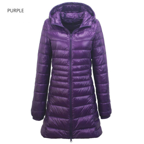Womens Long Quilted Puffer Coat Puffa Parka Padded Down Jacket Hooded Winter
