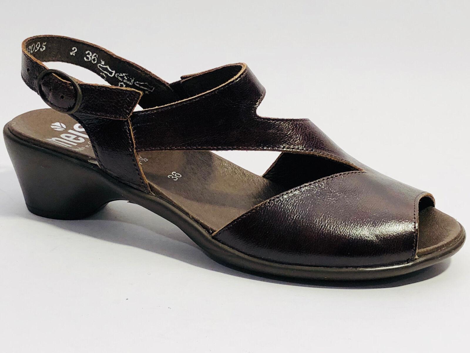 4ce83f5f Meisi zapatos cuero liso sandalias () marrón de velcro goma elástica ...