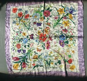 Silk-Italian-Floral-Scarf-Designer-Inspired-Purple-White-Large-Butterflies