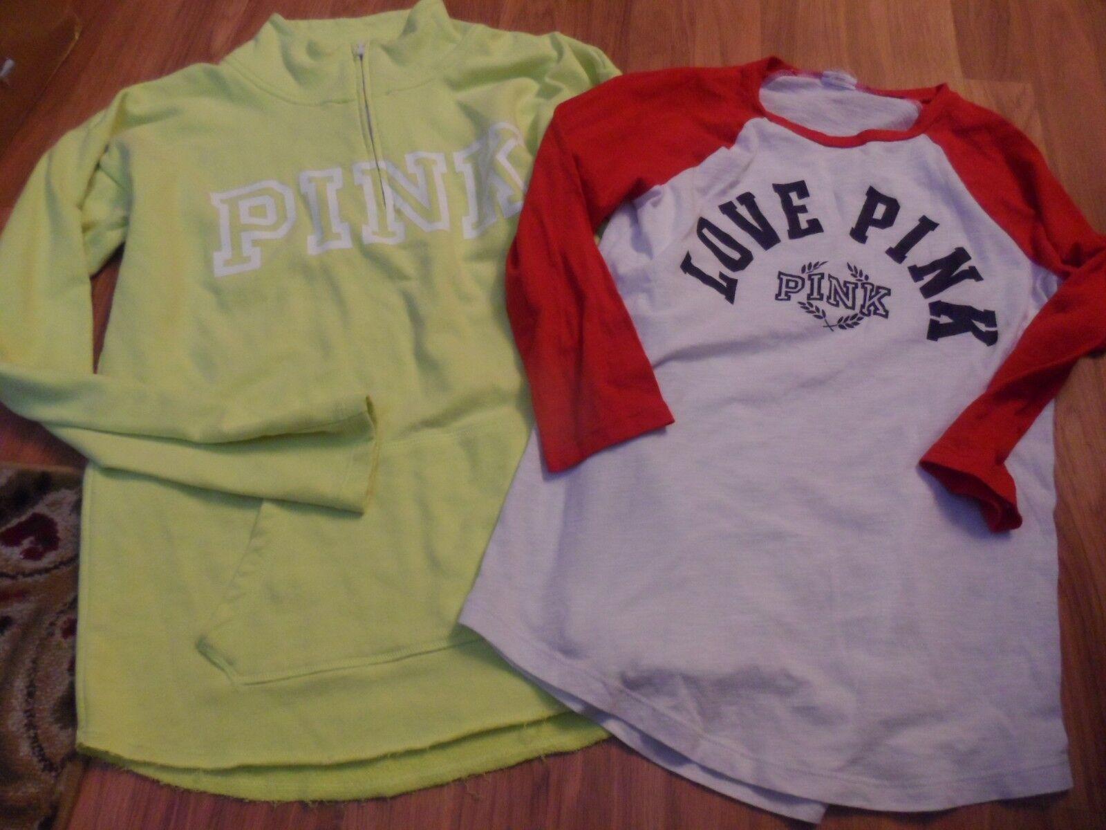 VS Victoria's secret PINK  small  baseball t-shirt shirt top & sweatshirt
