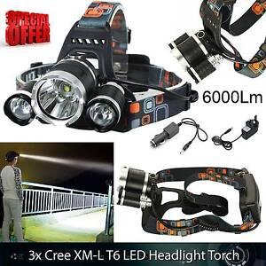 6000 Lm Lumens 3x XML T6 LED Rechargeable Head Torch Headlamp Lamp Light - London, United Kingdom - Returns accepted - London, United Kingdom