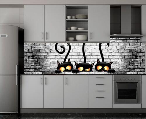 Küchenrückwand Katzen Steinwand Spritzschutz Fliesenspiegel AcrylGlas SP81