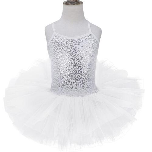 Girls Sequin Ballet Dance Dress Gymnastics Leotard Dance Wear Tutu Skirt Costume