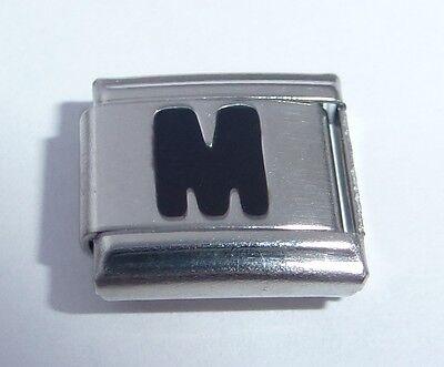 BLACK LETTERS 9mm Italian Charm - Choose Alphabet - fits ALL Starter Bracelets