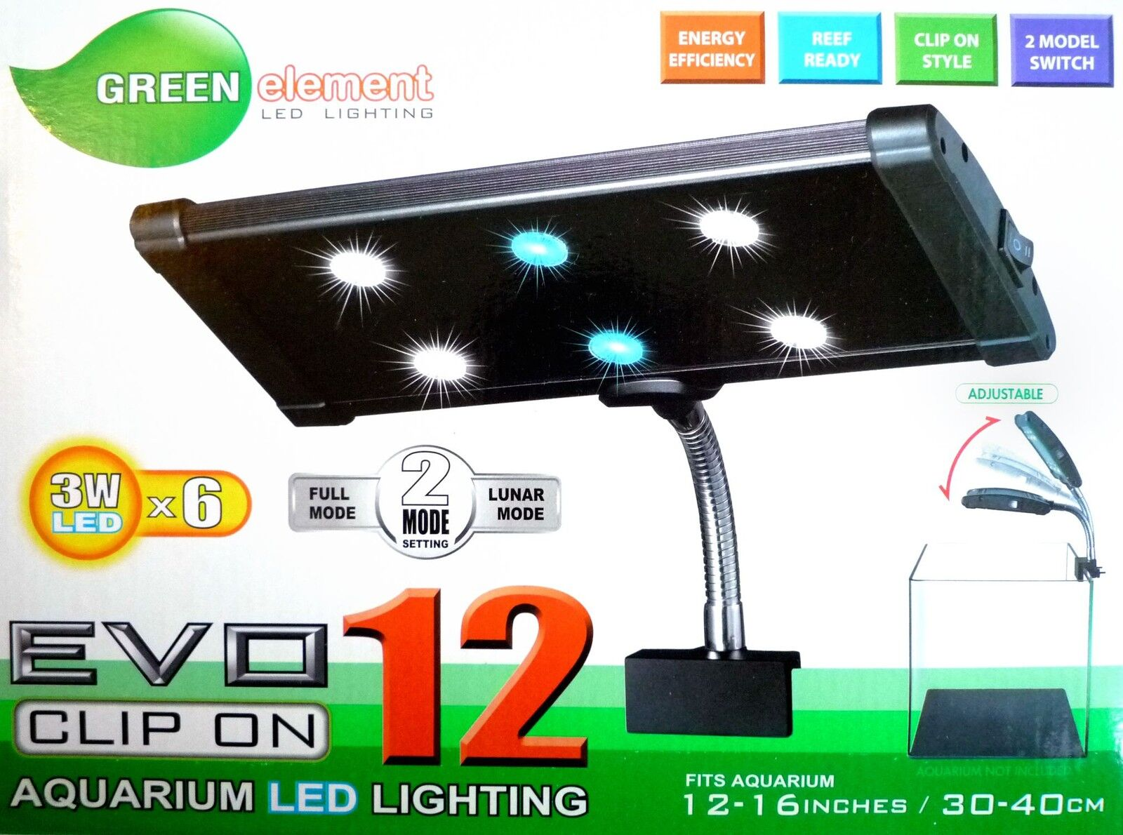 Green element LED light EVO clip clamp hang on 3W x6 Reef Coral planted aquarium