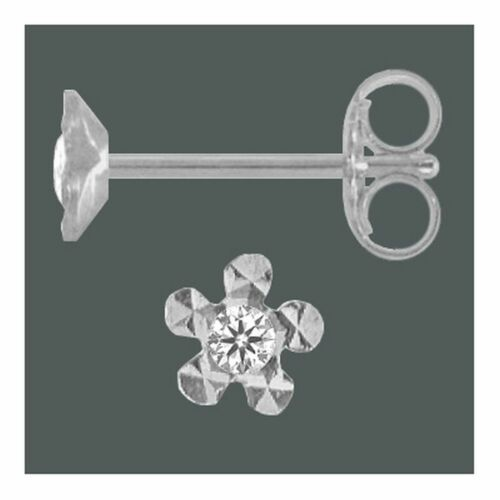 Ohrstecker Kelchstecker 925 Silber Blume m Zirkonia 4 mm Ohrringe 1 Paar