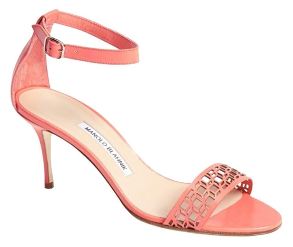New 9.5    39.5 Manolo Blahnik Chaos Coral Leather Laser Cut Sandal Heel  consegna e reso gratuiti