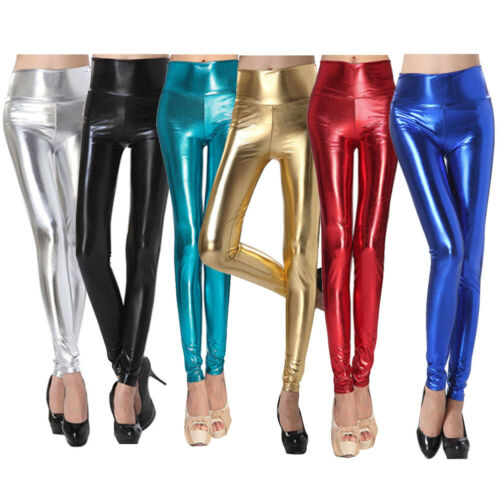 Women Metallic Wet Look Tight Patent Leather Leggings High Waist Shiny Clubwear
