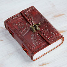 Indra Handmade Medium Embossed Stitched Leather Diary Notebook Journal + Clasp