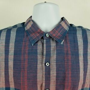 Tommy-Bahama-Mens-Blue-Red-Plaid-Check-L-S-Linen-Button-Shirt-Sz-XL