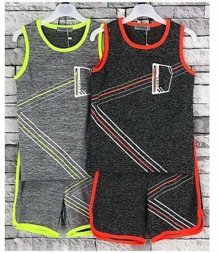 Boys Girls Kids Basketball Sport Summer Set Vest T-Shirt with Shorts  2-14 Year