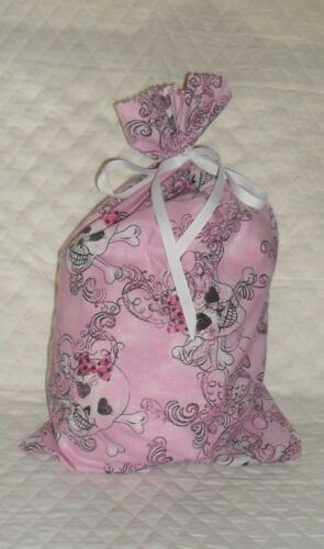 Skull with Bow Design Homemade Fabric Gift Bag  with Attached Ribbon