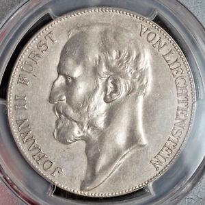 1910, Liechtenstein, Prince Johann II. Large Silver 5 Kronen Coin. PCGS AU55!