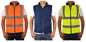 Hi-Vis-High-Visibility-Reversible-Fleece-Bodywarmer-Waistcoat-Work-Jacket-S-5XL