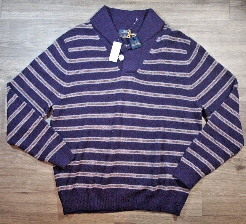 Brooks Brothers 346 Lamb Wool Sweater  Herren XL Shawl lila Stripe 130 A395