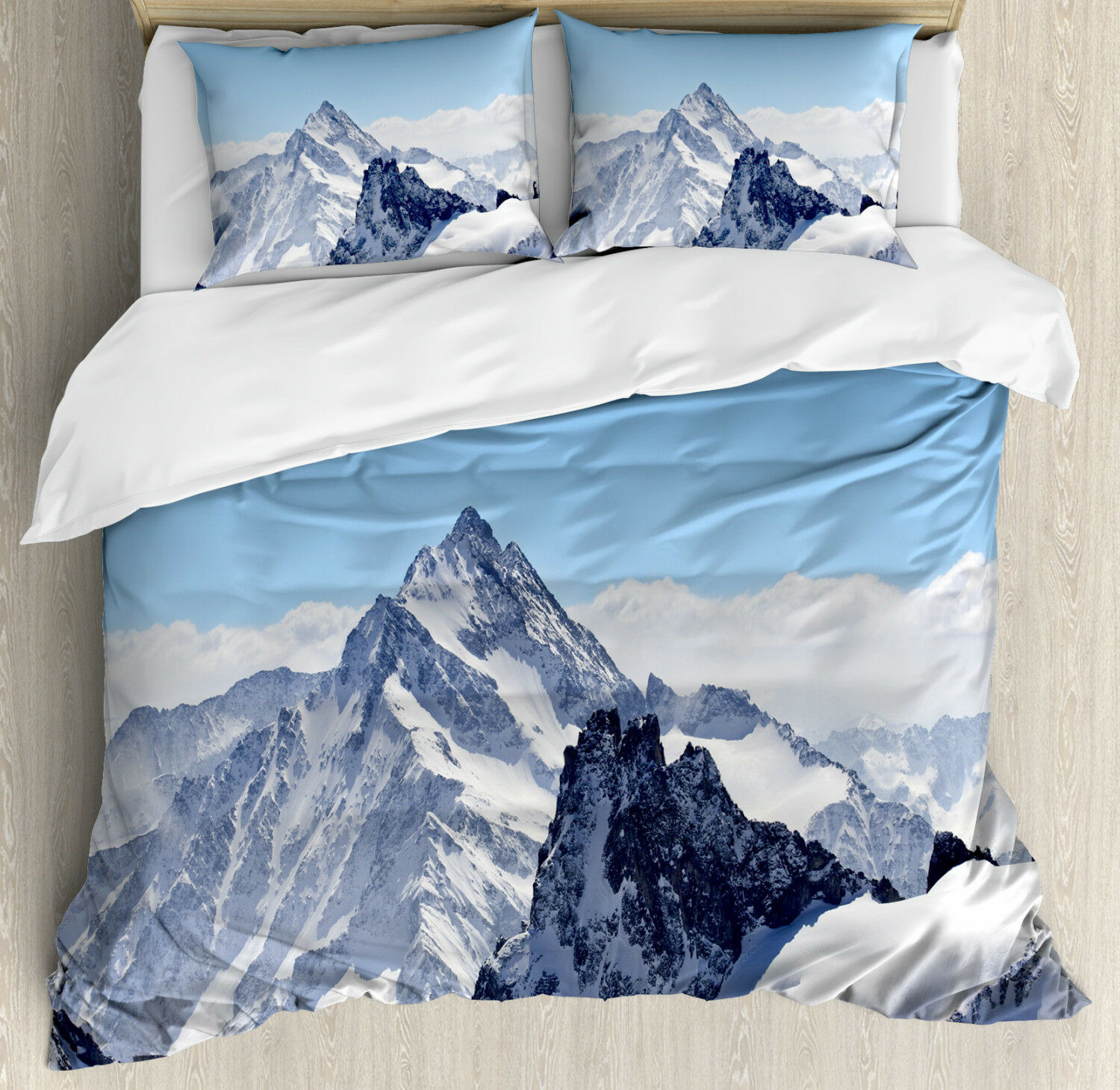 Winter Duvet Cover Set with Pillow Shams Snowy Mountain Peaks Print