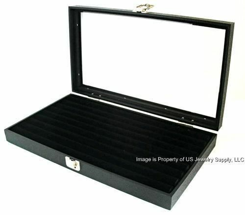 2 Wholesale Glass Top Lid Black 8 Row Ring Display Portable Storage Boxes Cases