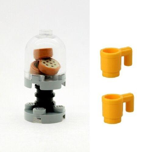 LEGO Biscotto Cookie Dolci Barattolo Con Grigio & Nero Stand & 2 COPPE Giallo Nuovo