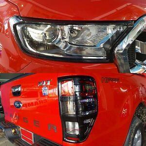 Black Mica Head Light Tail light Cover Trim Ford Ranger MK2 PX2 2015 2016 XLT