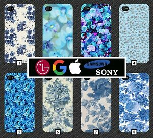 Blue-Floral-Phone-Case-Cover-Flowers-Vintage-Light-Dark-Plastic-Clip-On-316