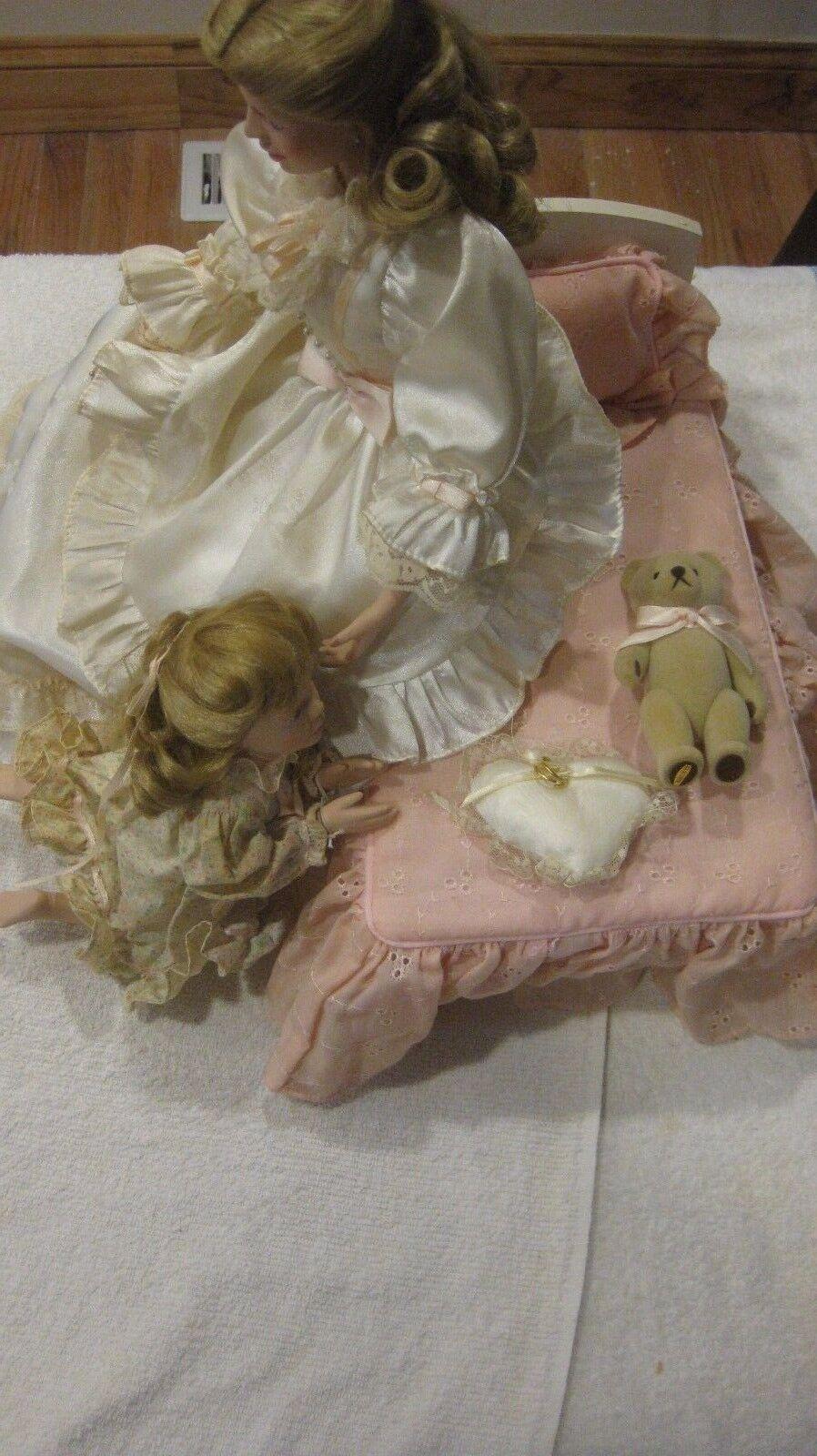Seltener Porzellan-Puppe Schlafenszeit Porzellan-Puppe Seltener Set von Lia Dileo Mutter & Tochter Gorham 436244