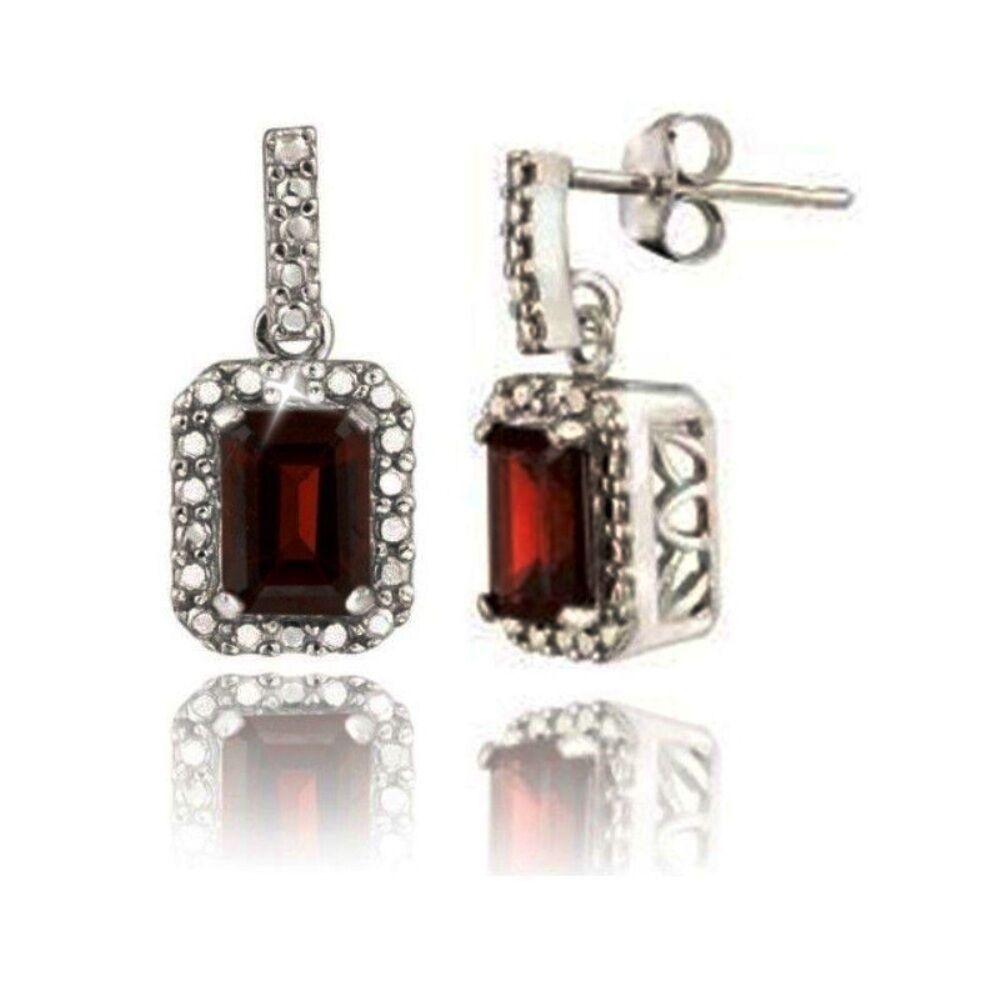 Emerald Cut Garnet Tiny Diamonds Dangle Earrings White 14k gold over 925 SS