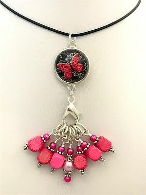 Rose Butterfly Stitch Marker Necklace Holder & Snag Free Markers | Leather Cord