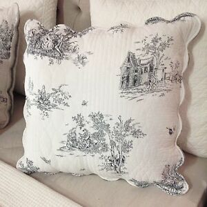 French-Country-Toile-Euro-Cushion-Pillow-Cover-Toile-Black-And-White-New