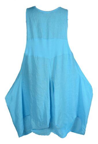 D/'été lin BOUT Robe Tunique Long shirt 40 42 44 46 48 M L XL XXL Plage