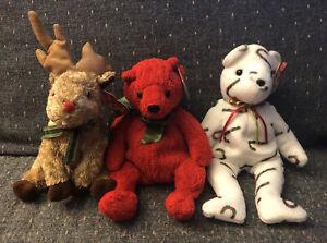 Ty Beanie Babies CAND-e Bear Mistletoe Rudy (Rudolf) Reindeer Christmas Set Of 3