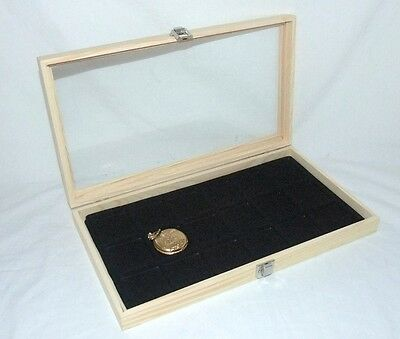 NATURAL WOOD POCKET WATCH/ JEWELRY 18 SLOT GLASS TOP DISPLAY